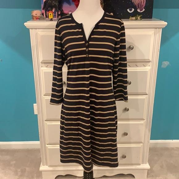 J. McLaughin Designer Black & Creme Striped Dress